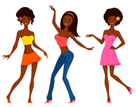 partying: Cute cartoon girls in colorful fashion dancing and partying