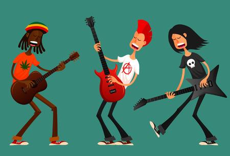 cantando: Chicos divertidos dibujos animados tocando la guitarra