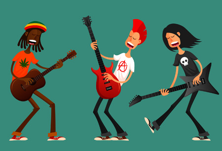 cartoon singing: Funny cartoon guys playing guitar