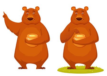 a jar stand: Cute animal cartoon of a happy bear tasting honey