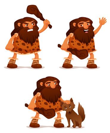 Funny cartoon illustration of a caveman with a club