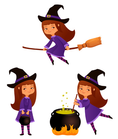 witch on broom: Cute cartoon illustrations of a small witch girl Illustration