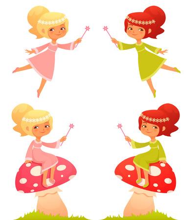 小さな妖精の少女のかわいい漫画イラスト