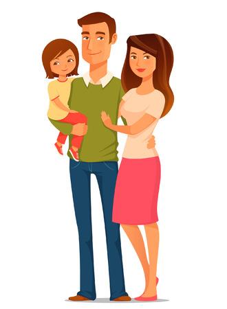 幸せな若い家族のかわいい漫画イラスト