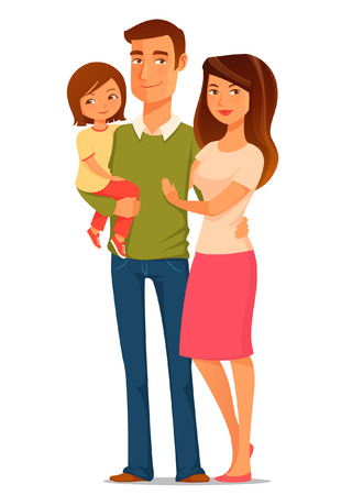 Cute cartoon illustration of a happy young family