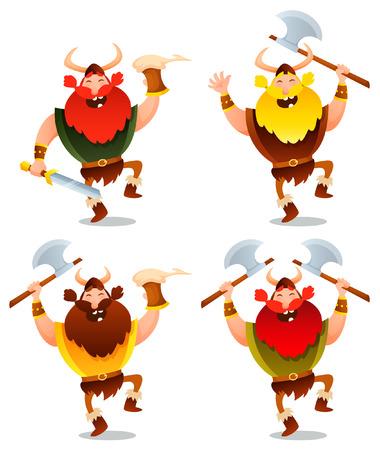 warriors: Funny cartoon illustration of happy viking warriors