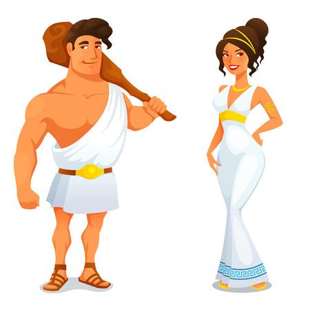 diosa griega: Héroe antiguo Hércules y una bella muchacha griega Vectores