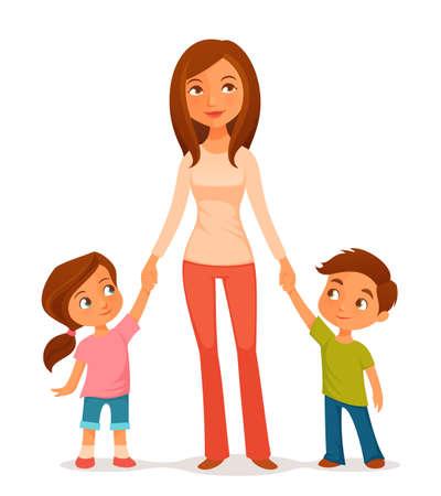 madre soltera: Ilustración de dibujos animados de una joven madre con dos hijos