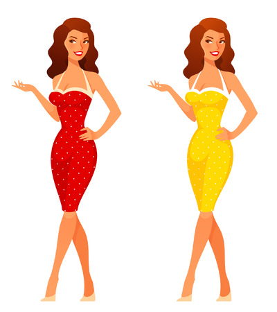 Cartoon girl in retro dress Vectores