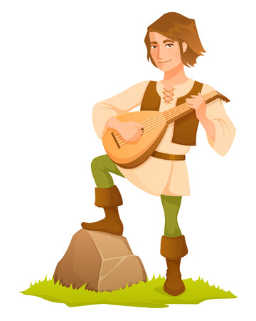 Cartoon illustration of a handsome medieval bard with a lute