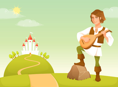 Cute illustration of a handsome bard in a fairy tale kingdom
