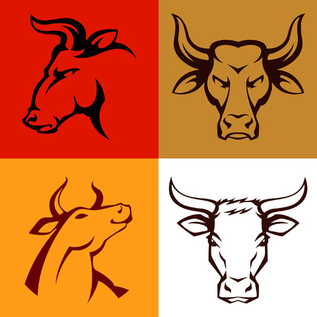 strong bull: Simple line illustrations of bull or cow head