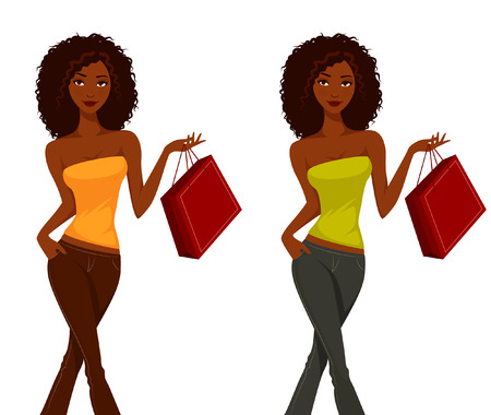ilustraciones africanas: Compras Hermosa chica de dibujos animados