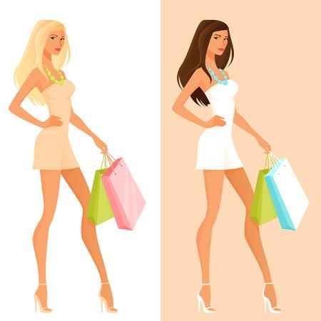 Mooie cartoon meisje in de zomer jurk winkelen Vector Illustratie