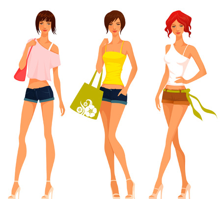 pantalones cortos: Hermosas chicas jóvenes en trajes de verano