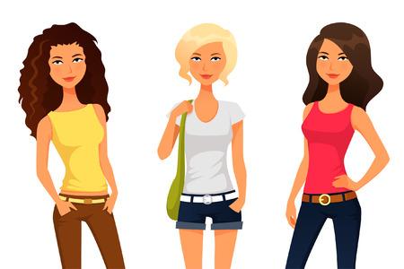 여름 패션의 옷을 입고 귀여운 십대 또는 트윈 소녀