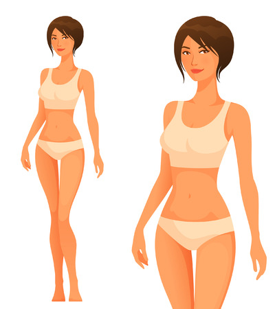 Beautiful young woman with slim healthy body