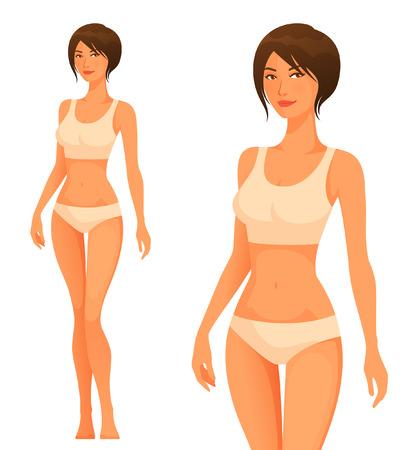 human figure: Hermosa mujer joven con cuerpo sano delgado