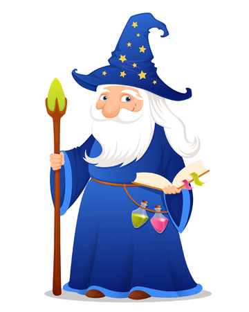 Cute cartoon wizard with magic book potions and staff