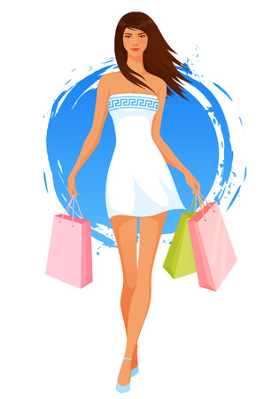 long hair brunette: Beautiful young woman in summer dress shopping Illustration