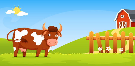 fence: Smiling cow with greenery background farm and wooden fence