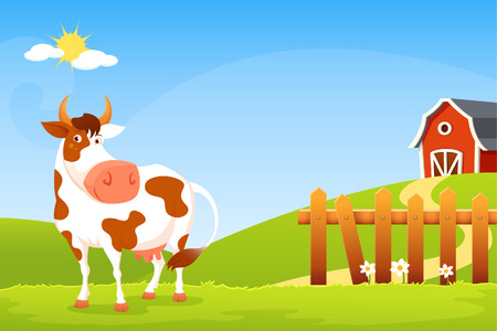 greenery: Smiling cow with greenery background farm and wooden fence