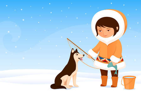 fur hood: Illustration of a cute small Inuit girl and her dog