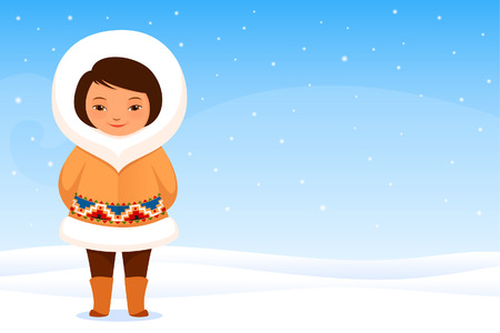 small girl: Cute small Inuit girl in traditional clothes Illustration