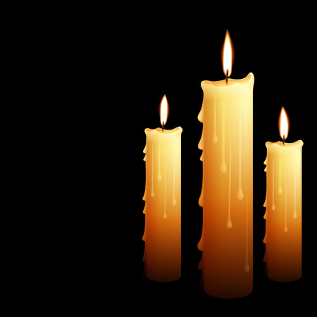 Beautiful glowing candles with melted wax