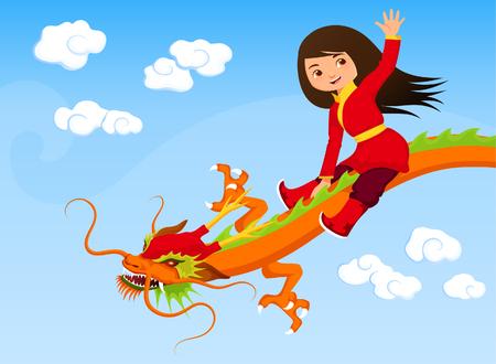 kid vector: Dragón asiático lindo de la muchacha a caballo