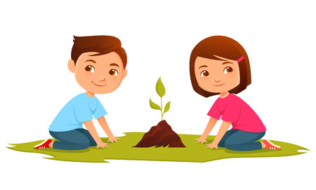 Cute cartoon kids growing a plant