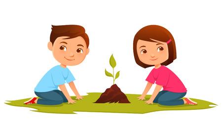 kid vector: Niños lindos de la historieta en crecimiento de una planta