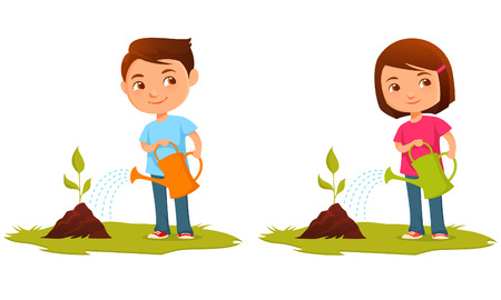 plants growing: Cute kids watering plants Illustration