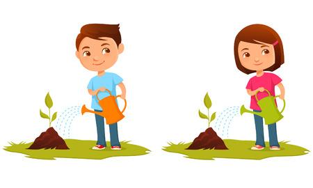 Cute kids watering plants Vettoriali