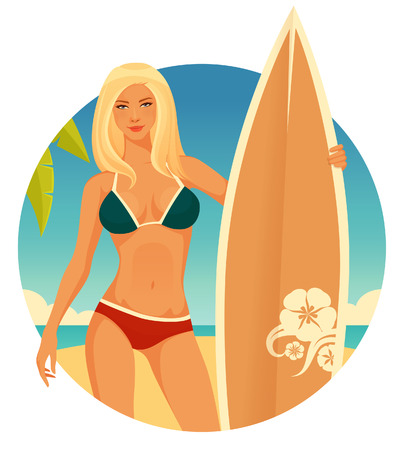 sexy girls: Blonde surfer girl with simple seaside background in retro colors Illustration