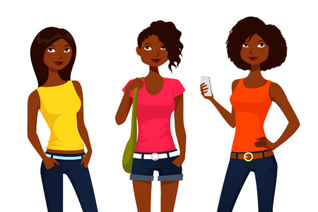 adolescent african american: Cartoon girls in colorful summer clothes Illustration
