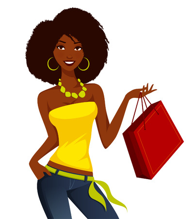 woman vector: Young African American woman shopping