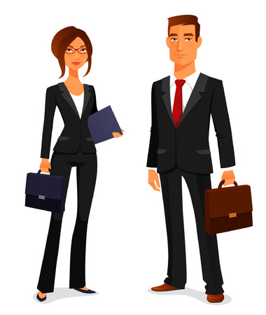 young man and woman in elegant business suit Çizim
