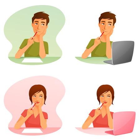 papier lettre: jeune homme et une femme penser ou de travailler avec l'ordinateur