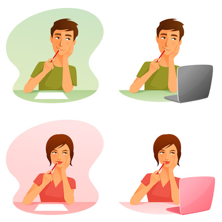 young man and woman thinking or working with computer