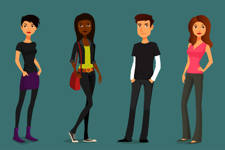outfits: cute and colorful cartoon people in various outfits