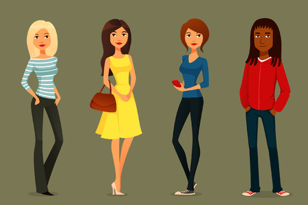 pretty dress: cute cartoon illustration of young people in various outfits Illustration