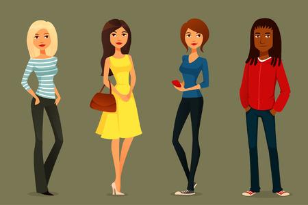leuke cartoon illustratie van jonge mensen in verschillende outfits