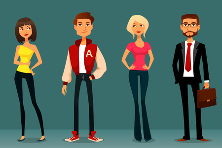 personnage: illustration de bande dessinée mignonne de personnes dans diverses tenues