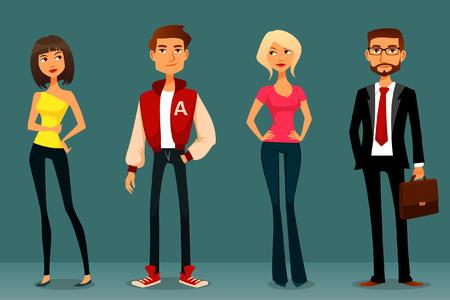 ropa casual: ilustración de dibujos animados lindo de las personas en diferentes trajes Vectores