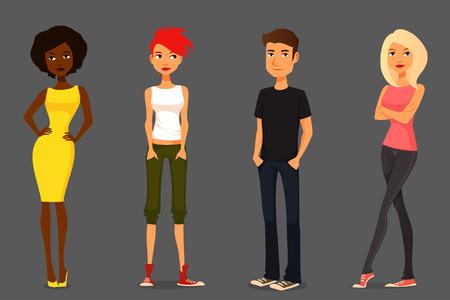 diversidad: colorida ilustración de la gente de dibujos animados lindos