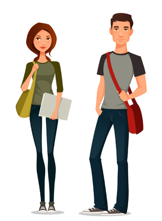 college students: cartoon illustration of students in casual clothes