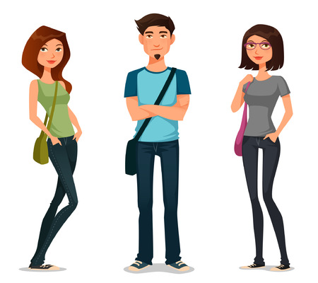 young: cartoon illustration of students in casual fashion