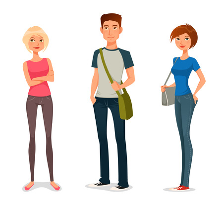 cute cartoon illustration of young people in casual fashion Çizim