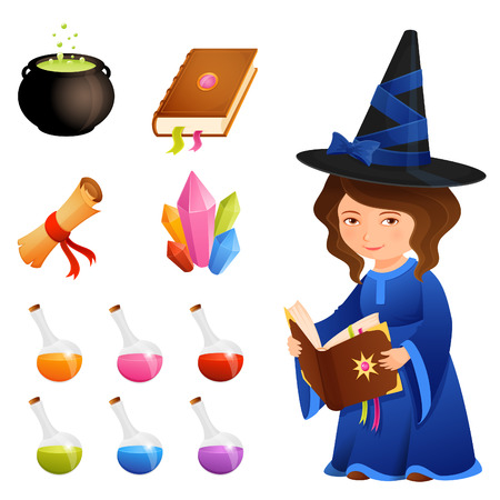 wizardry: cute magic theme illustrations or icons with a little witch girl Illustration